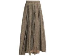 Pleated fil coupé cotton-blend maxi skirt