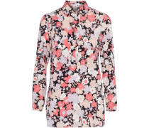 Ruffle-trimmed floral-print stretch-silk shirt