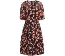 Printed cotton and silk-blend dress