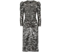 Damia Ruched Printed Silk-blend Lamé Dress Silver