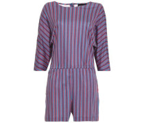 Striped Cotton-jersey Playsuit Blue