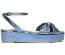 Twist-front Metallic Leather Platform Sandals Azure