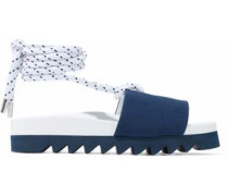 Embellished Canvas And Leather Sandals Navy