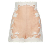 Woman Corsage Lily Button-detailed Embroidered Linen And Silk-blend Shorts Blush
