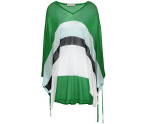 Striped Pointelle-knit Top Green