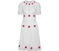Leaf appliquéd tulle mini dress