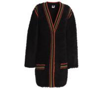 Crochet-trimmed faux fur coat