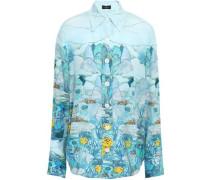 Printed Silk Crepe De Chine Shirt Sky Blue