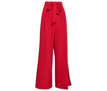 Belted Cady Wide-leg Pants Red