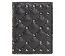 Rockstud Spike Quilted Cracked-leather Wallet