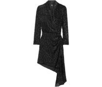 Ava Wrap-effect Draped Velvet-jacquard Mini Dress Black