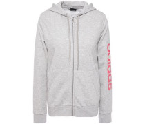 Woman Printed Mélange French Cotton-blend Terry Hoodie Light Gray