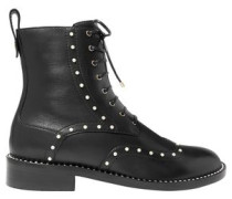 Hannah Faux Pearl-embellished Leather Ankle Boots Black