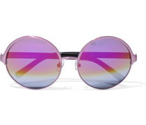 Round-frame Metal And Acetate Mirrored Sunglasses Multicolor Size --