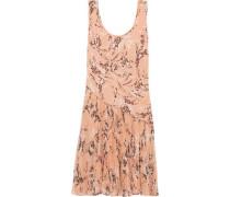 Pleated printed silk-chiffon dress