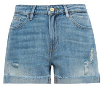 Le Grand Garcon Distressed Denim Shorts Mid Denim  9