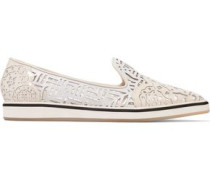 Laser-cut Leather Loafers White