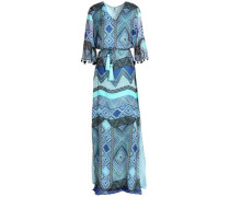 Pom pom-trimmed silk-chiffon maxi dress