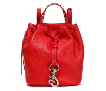 Woman Studded Textured-leather Shoulder Backpack Red