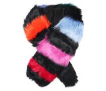 Striped faux fur scarf