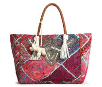 Leather-trimmed Embellished Cotton Tote Multicolor Size --