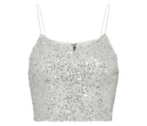 Archer Cropped Sequined Tulle Top Silver