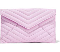 Leo Quilted Textured-leather Pouch Bubblegum Size --
