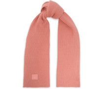 Woman Ribbed Wool Scarf Antique Rose