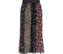 Paneled Printed Plissé Silk-chiffon Maxi Skirt Black