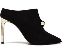 Woman Piercing Button-embellished Suede Mules Black