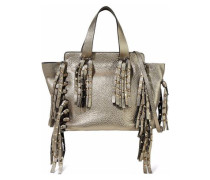 Studded Fringed Metallic Pebbled-shoulder Bag Gold Size --