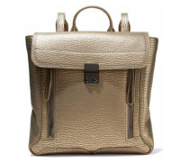 Pashli metallic textured-leather backpack
