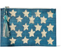 Star embroidered straw pouch