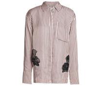 Lace-appliquéd striped twill shirt