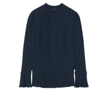 Woman Paige Pintucked Silk Crepe De Chine Blouse Midnight Blue