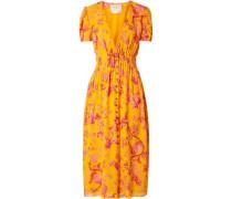 Woman Pintucked Floral-print Silk Crepe De Chine Midi Dress Marigold