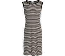 Cutout striped ribbed-knit mini dress