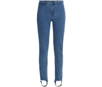 High-rise slim-leg stirrup jeans