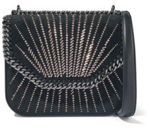 Studded faux leather and suede shoulder bag