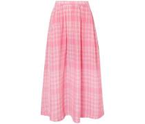 Checked Crinkled-voile Midi Skirt Pink