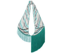 Fringe-trimmed Printed Knitted Scarf Teal Size --