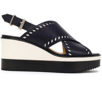 Laser-cut Leather Slingback Wedge Sandals Midnight Blue
