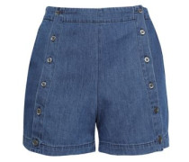 Amy Button-detailed Denim Shorts Mid Denim