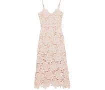Frida Floral-appliquéd Guipure Lace Midi Dress Blush