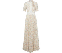 Guipure lace-trimmed pleated floral-print chiffon gown