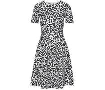 Fluted Leopard-jacquard Dress White