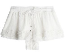 Fringed crochet-knit shorts