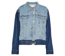 The Carina Paneled Two-tone Denim Jacket Mid Denim Size 1