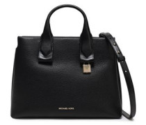 Woman Large Textured-leather Tote Black