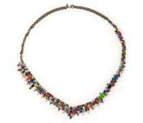 Gunmetal-tone, crystal and stone necklace